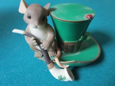 """Charming Tails By Fitz & Floyd Figurine """"irish You Luck"""" Inspirational"""