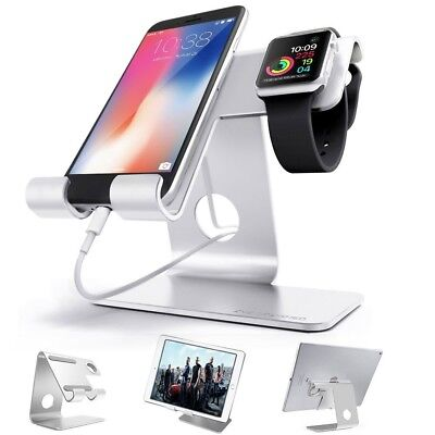 ZVE Universal 2 in 1 Aluminum Charging Dock for Watch/Smartphone/Tablet - SILVER