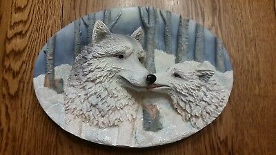 "Wolf Plate Precious Times Suanti Galleries 3D 6 3/4"" X 9 3/4"""
