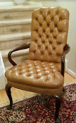 Contemporary Queen Anne Style Quilted Leather & Mahogany Armchair