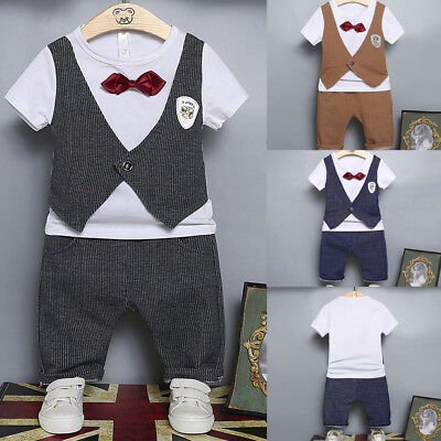 2Pcs Infant Baby Kids Boys Letter Print Bow Tops+Pants Outfits Clothes Striped