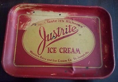 Vintage  Justrite Ice Cream Dairy Advertising Tray St. Joseph, Mo