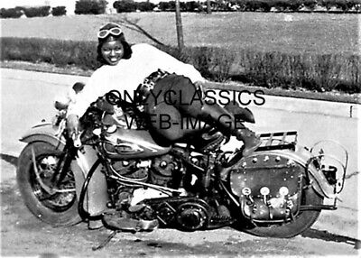 Harley Davidson Motorcyle Ama Woman Rider Bessie Stringfield 5X7 Photo Relaxing!