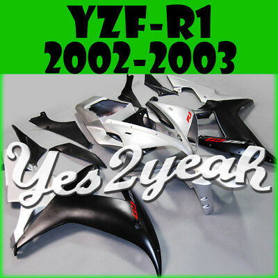 Yes2yeah Injection Fairings Fit Yamaha YZF 1000 YZF-R1 02 03 Silver Black Y12Y19