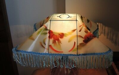 7 Spritzdekor Celluoid Art Deco Lamp Shades Blue & Pink #3