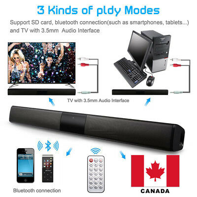 20W TV Speaker Soundbar Bluetooth Wireless Home Theater Sound Bar Remote CANADA
