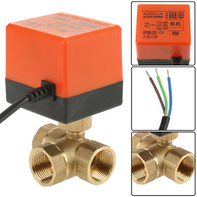 """G3/4"""" DN20 3 Way T-Type 220V AC Control Motorized Electrical Ball Valve Brass"""
