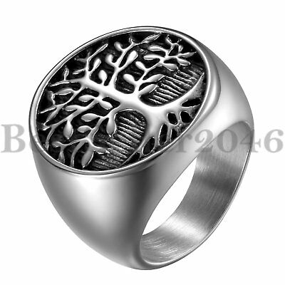 Mens Round Celtic Tree of Life Ring Stainless Steel Biker Wedding Band Size 7-12