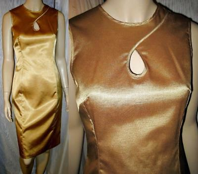 Sz 4 Newport News Sparkly Gold Poly Stretch Key Hole Wiggle Cocktail Dress VGC