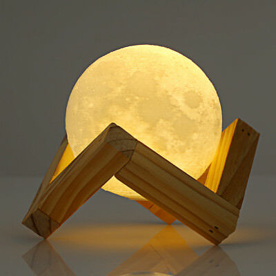 3D Print LED Moon Lamp 10cm 15cm 18cm Moonlight USB Touch Night Light Home Decor