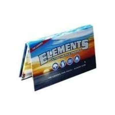Elements SINGLE WIDE Rice Thin Cigarette Rolling Papers, 100/Pack, box of 25 pac