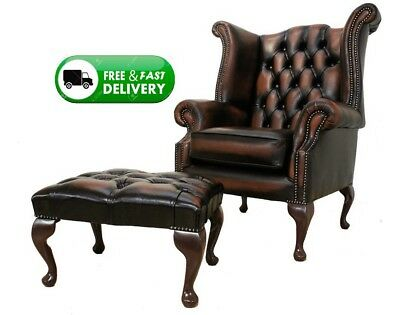New Chesterfield Queen Anne High Back Wing Chair Antique Leather + Footstool