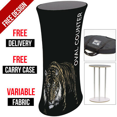 Oval Counter Fabric Display Stand with Printed Graphics -Popup/Exhibition Stand