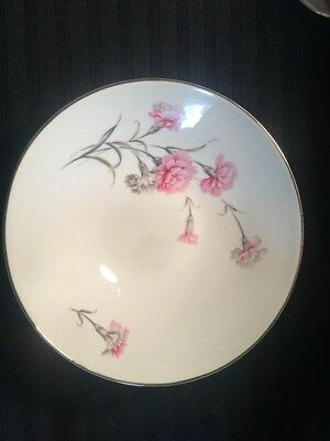 "Royal Court Fine China Carnation 9.5"" Serving Bowl Japan Gold Trim Dinnerware"