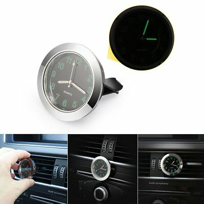 Mini Auto Air Vent Clock Outlet Vent Quartz Leuchtende Stick-On Uhr Schwarz Silb