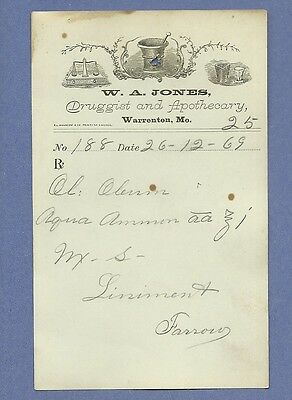 1869 WA Jones Druggist Apothecary Warrenton Missouri Prescription Receipt No 188
