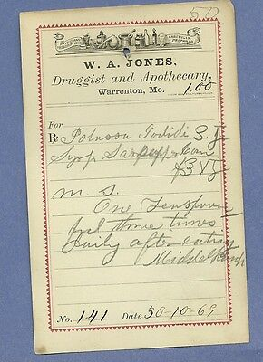 1869 WA Jones Druggist Apothecary Warrenton Missouri Prescription Receipt No 141