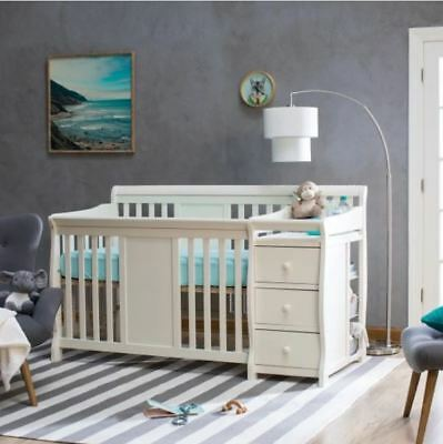 4-1 Crib with Changing Table Set Infant Baby Nursery Furniture Wood Toddler Bed