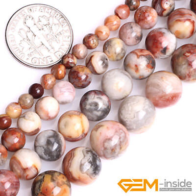 "Natural Yellow Crazy Lace Agate Gemstone Round Loose Spacer Beads Strand 15"" YB"