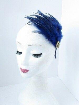 Navy Blue Gold Feather Fascinator Headband Races Headpiece Hair Band 1920s 5553