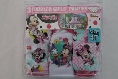 NEW Toddler Girls 3 Pack Panties Underwear Size 4T Minnie Mouse Cotton Disney Jr