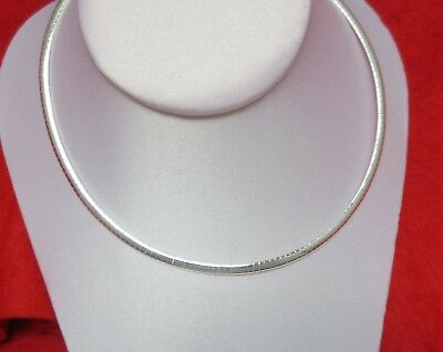 Sterling Silver Ep 4Mm Omega  Necklace- 16-18 Inches Chain