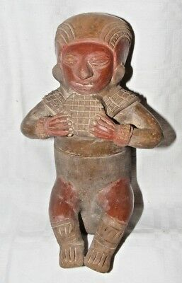 Antique Vintage Pre Columbian? Mayan Clay Terracotta Seated Figure Statue Tubula