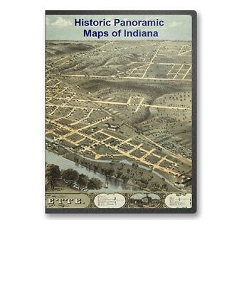 Indiana IN - 17 Vintage Panoramic City Maps Fort Wayne South Bend Etc CD - B151