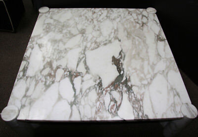 Gae Aulenti, Jumbo White Coffee Table (Knoll), Marble Carved Table