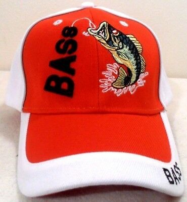 Fishing Cap Bass Hat Red And White Color