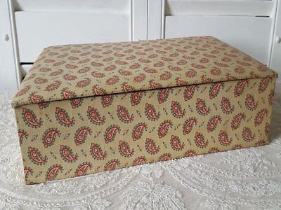 French Antique Boudoir Box Vintage Paisley Floral Linen Fabric Covered Storage