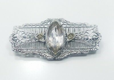 Beautiful Vintage Art Deco Sterling Silver 925 Filigree Detailed Pin Brooch