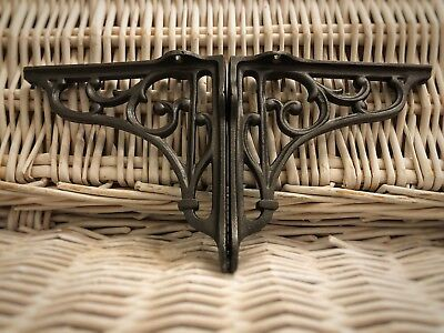 "Pair of Cast Iron old English vintage Shelf Support Book Sink Brackets 5""by 5"""