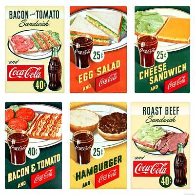 Coca-Cola 1950s Diner Food Burger Sandwich Vinyl Sticker Set of 6 Vintage Style