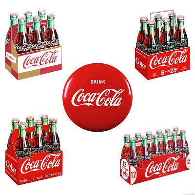 Drink Coca-Cola 6 Packs Drink Coke Button Wall Decal Set of 5