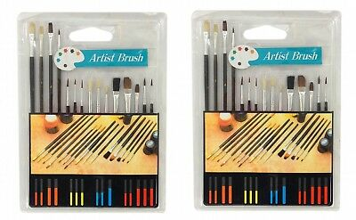 LOT of 2: 15 Piece ARTIST PAINT BRUSH SETS All Purpose Oil Watercolor Acrylic