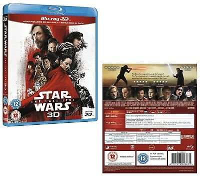 STAR WARS 8 (2017) - VIII THE LAST JEDI - Reg Free 3D + 2D BLU-RAY + BONUS DISC