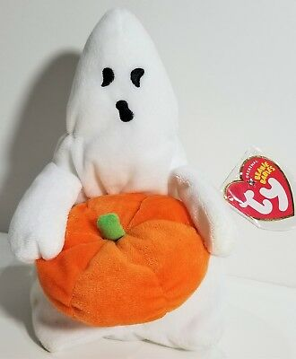 """TY Beanie Babies """"GHOUL"""" the HALLOWEEN GHOST ~ MWMTs! RETIRED! PERFECT GIFT! NEW"""