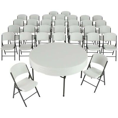 Lifetime Tables and Chairs Combo 80458 White 32 Chairs 4 60-inch Round Tables