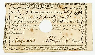 1791 1 Pound - Comptroller's Office CONNECTICUT Interest Payment Certificate