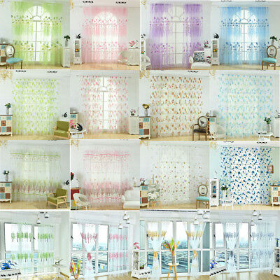 Offset Printing Sheer Curtain Yarn Tulle Window Blind Screen Voile Panel Decor