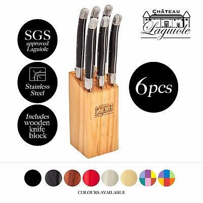 Chateau Laguiole 6pc Stainless Steel Steak Knife Set Wooden Knives Block Colours
