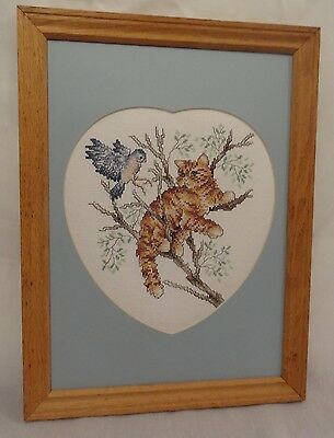 New Cat Tree Bluebird Framed Picture Heart Handmade Finished Cross Stitch Tabby