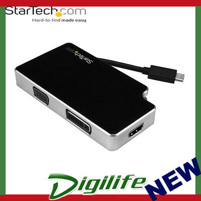STARTECH Travel A/V Adapter: 3-in-1 USB-C to VGA, DVI or HDMI - 4K CDPVGDVHDB