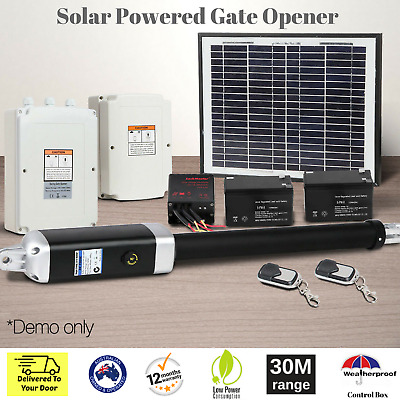 Electric Automatic Swing Gate Opener Solar Power Remote Control Hardware Include