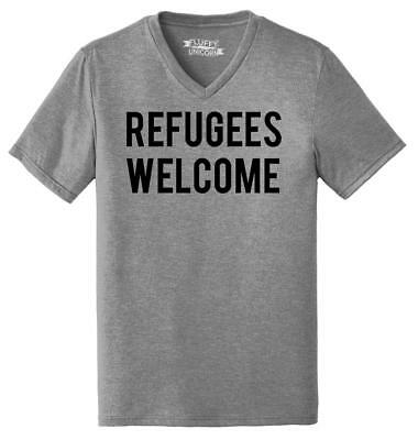 Mens Refugees Welcome Tee Anti Trump Protest Muslim Peace USA Tee Triblend