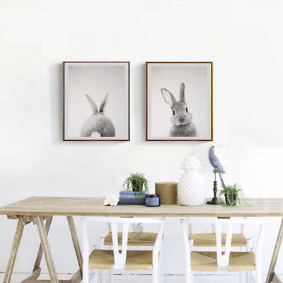 Pack 2 Unframed Art Oil Painting Print Canvas Picture Rabbit Home Wall Decor
