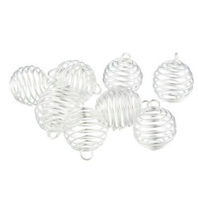 Wholesale Lots Silver Plated Spiral Bead Cages Pendants Findings 25x20mm SF NEW