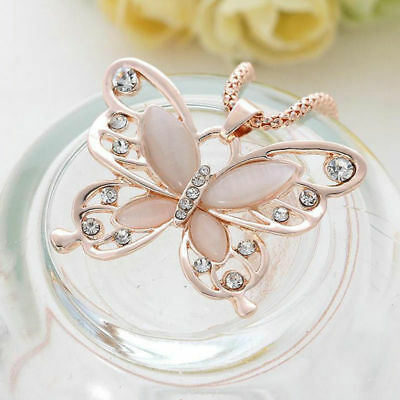 Fashion Women Rose Gold Opal Butterfly Charm Pendant Long Chain Necklace Jewelry