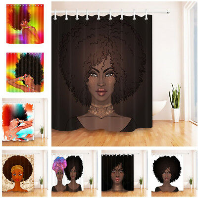 Makeup Afro African American Pretty Girl Black Woman Shower Curtain Set Hooks
